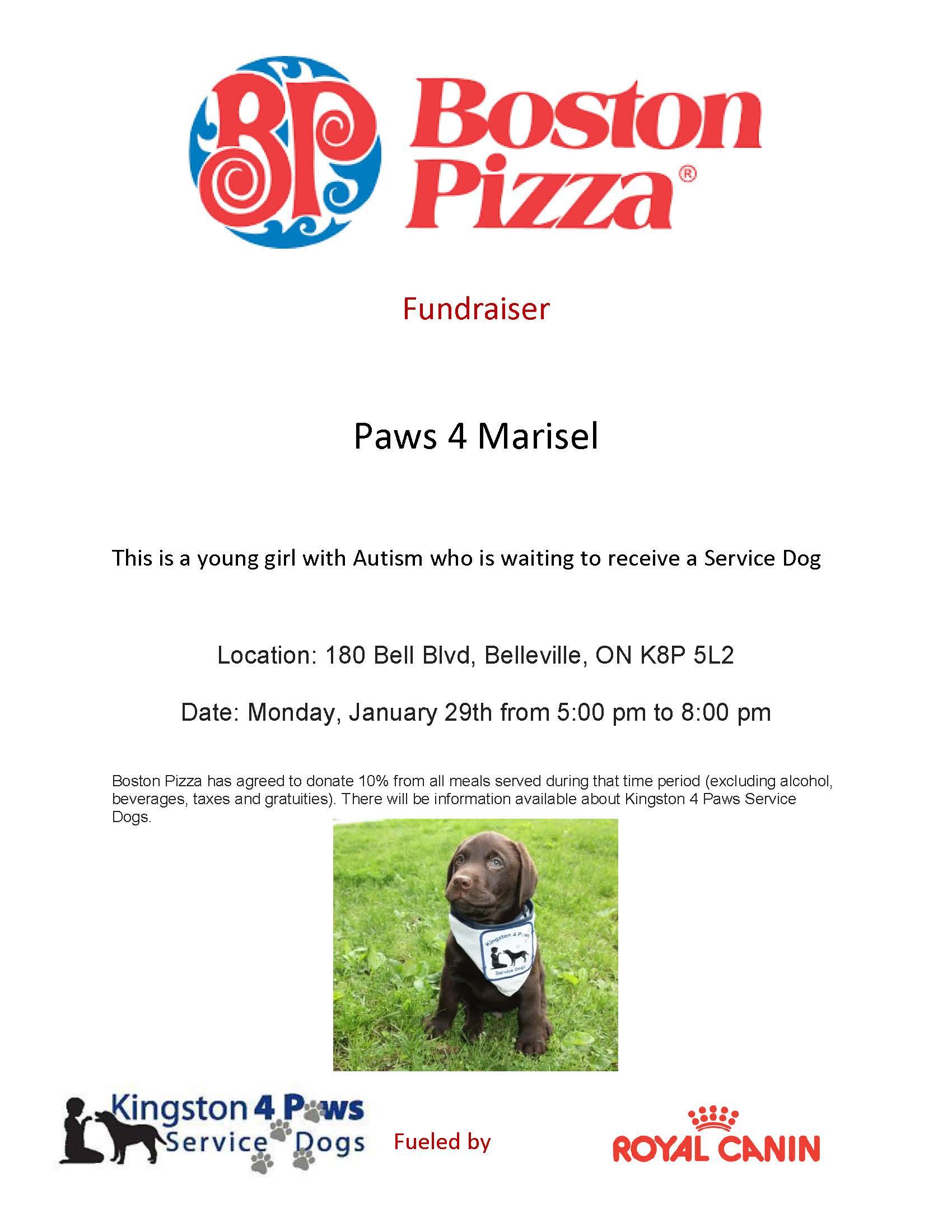 Boston Pizza Fundraiser for Marisel